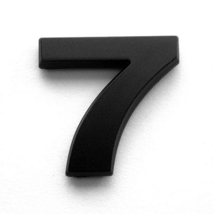 7, 3D Kunststoffziffer, selbstklebend, mattschwarz