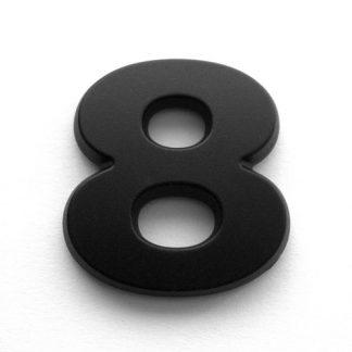 8, 3D Kunststoffziffer, selbstklebend, mattschwarz
