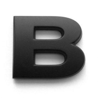 B, 3D Kunststoffbuchstabe, selbstklebend, mattschwarz