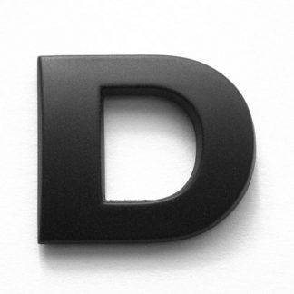 D, 3D Kunststoffbuchstabe, selbstklebend, mattschwarz