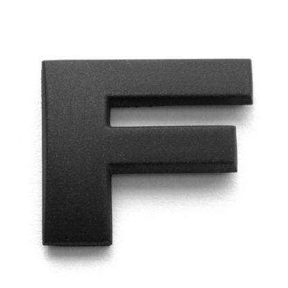 F, 3D Kunststoffbuchstabe, selbstklebend, mattschwarz