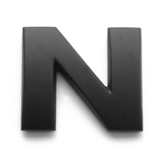 N, 3D Kunststoffbuchstabe, selbstklebend, mattschwarz